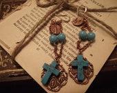 Vintage repurposed french inspired rosary bead earrings