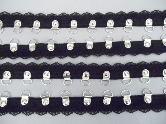 1Yd Black 3/4 inch Lace Twill Tape With Riveted D Rings