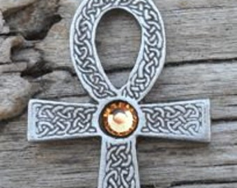 Pewter Ankh Egyptian Cross with Celtic Knots Pendant with Swarovski Crystal Gold Topaz NOVEMBER Birthstone (31G)