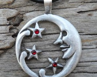 Pewter Moon Face and Stars Lunar Celestial Pagan Pendant with Swarovski Crystal Red Garnet JANUARY Birthstone (39E)