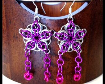 Dangle Chainmaille Earrings Purple Celtic Star