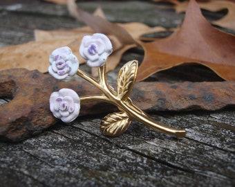 Vintage Lavendar Roses for My Love Brooch Pin