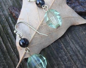 Boho Green Crystal Glass Beaded Dangle Earrings