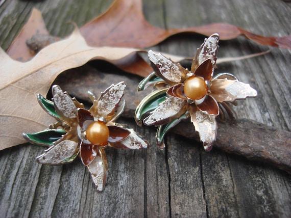 Vintage Treasury Item Lily Golden Pearl Enamel Clip On Earrings