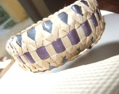 Navy and Purple Lauhala Bangle Bracelet