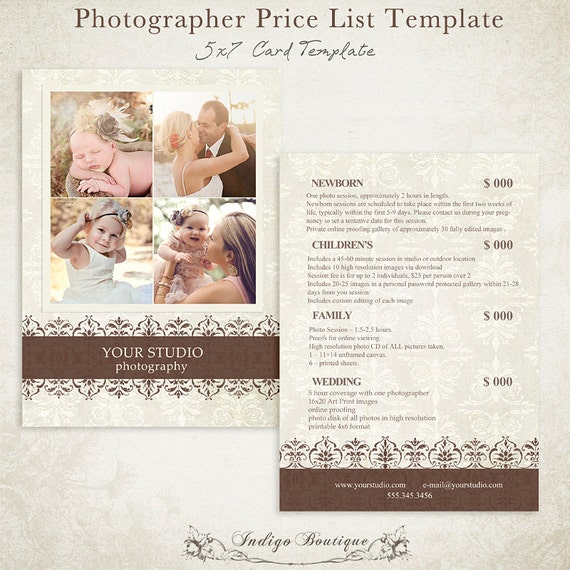 photographer price list photography package by indigoboutique. Black Bedroom Furniture Sets. Home Design Ideas