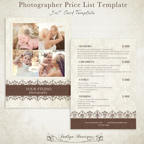 Wedding Price List Template images