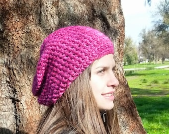 Slouchy beanie hat - FUCHSIA DELIGHT - chunky - crochet - womens Winter Autumn accessories Wool Woolen