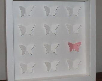 Nursery or baby room wall art. Personalised baby gift - 3D butterfly picture