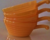 Just Like Grandma's... Beautiful set of 4 1950's Peach Luster Fire King by Anchor Hocking Soup Bowls with Handles