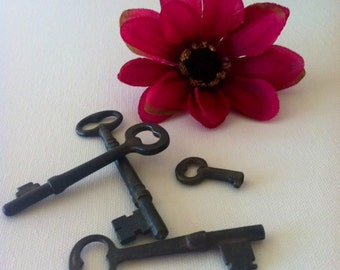 Rusty Beauties Lot of 4 Antique Skeleton Keys From The Wild West