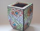 Mosaic Swirl Vase---Orange, Green, White, Black. Summer colors, wedding gift, housewarming gift.