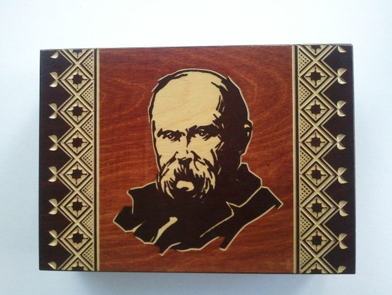 Vintage Wood Carved box with  Taras Shevchenko, Ukranian National artist and poet on the cover