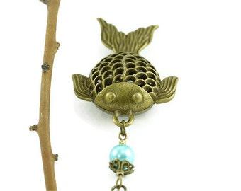 Gold Fish Necklace, Fishing Jewelry, Filigree Fish Pendant, Sea Ocean Beach Nature Marine Aquatic, Gone Fishing, Whimsical Angler Pisces