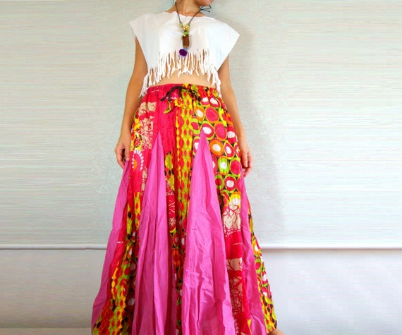 cotton maxi skirt skirt colorful hippie by