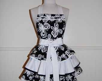 Gorgeous Black and White Butterflies 3 Tier Circle Skirt Full Hostess Apron with Ric Rac details