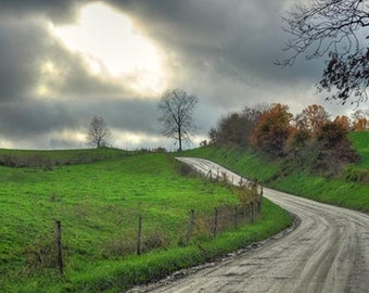 Amish Country Photo, HDR photograph, Green, silver and blue, fine photography prints, Verdant Countryside