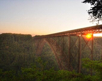 Sunset Bridge Photo, HDR photograph, Gold and green, fine photography print, Sunset on the New River Gorge