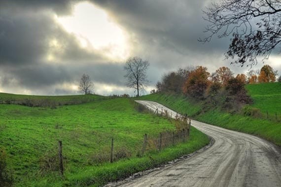 Amish Country Photo, HDR photograph, Green, silver and blue, 8 x 10 fine photography print, Verdant Countryside