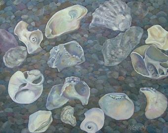 "Large original painting, Shell Series....""Inner landscapes"", beach painting, shells, ocean, meditative, natural, water"