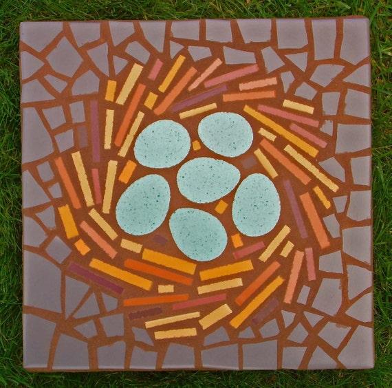 "Exterior garden stepping stone mosaic, made to order, ""Bird's Nest"", 12"" square, exterior tile, functional garden art"