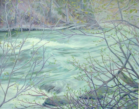 "Original oil painting...""High Water, with New Spring Leaves"", soft colors, lavendar, aqua, landscape, large painting, 24"" x 30"", water"