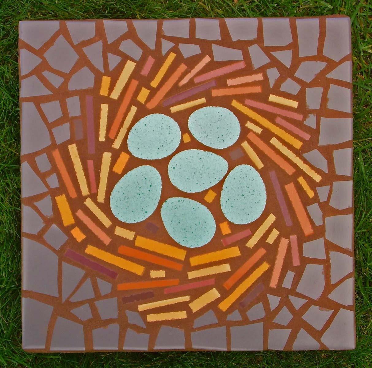 Mosaic Garden Stones: Exterior Garden Stepping Stone Mosaic Made To Order
