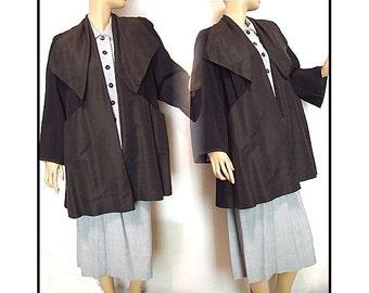 Vintage 1940s Coat Swing Designer Ben Gershel Jacket Hollywood Mad Man Garden Party Rockabilly Pinup Dress Femme Fatale Back