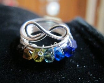 Ring silver wire wrapped infinity rainbow ring for girls and kids, children's jewelry