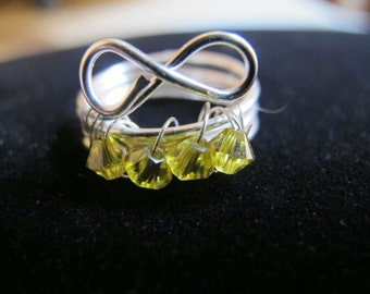 Wire wrapped infinity birthstone ring for children with topaz Swarovski crystals, NOVEMBER, children's jewelry