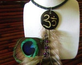 Ohm Feather and Bone Boho Necklace- Free Shipping