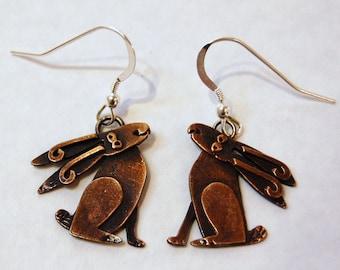 Moongazing Hare Copper Finish Drop Earrings