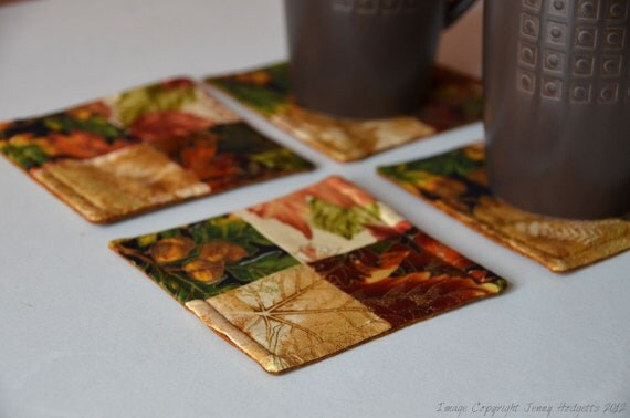 Autumn coasters in brown and gold fabric. Fall coasters, fabric drinks coasters Suits rustic, woodland or nature inspired decor.  UK