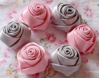 6 Handmade Ribbon Rolled Roses (1-1/4 inches) in Gray, Rose Pink  MY-025 -10 Ready To Ship
