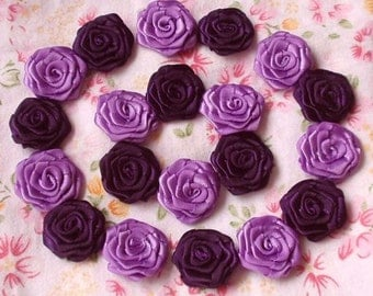 20 Small Handmade Ribbon Roses (3/4 inches) In Plum, Grape  MY-30-11 Ready To Ship