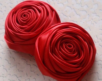 2 Handmade Rolled Roses (2 inches) in Red MY-012 -40 Ready To Ship