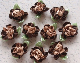 10 Handmade Ribbon Flowers With Leaves (1 inch, With leaf size 1-1/4) In Brown, Latte MY- 035 - 07 Ready To Ship