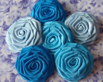 6 Handmade Ribbon Roses (1-1/2 inches) In Lt Blue, Turquoise, Aegean Blue  MY-027-12 Ready to Ship