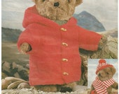 Vintage Teddy Bear Clothes Duffle Coat, Hat and Scarf knitting pattern - PDF