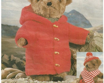 Knitting Pattern For Teddy Bear Clothes : Vintage Teddy Bear Clothes Duffle Coat, Hat and Scarf knitting pattern - PDF