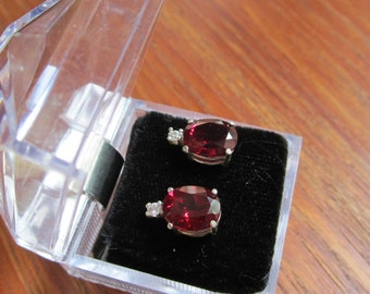 Simulated Garnet Accented Earrings