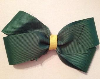 5 Inch Green & Yellow Hair Bow