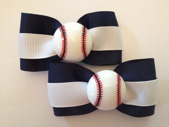 Set Of Two  3 Inch Baseball Hair Bows  Great For Pigtails