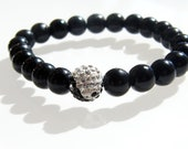 Yin Yang Balance Bracelet - Crystal Ball Bead with Black Onyx Glass Beads