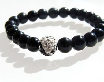 Yin Yang Balance Bracelet - Crystal Ball Bead with Black Onyx Glass Beads