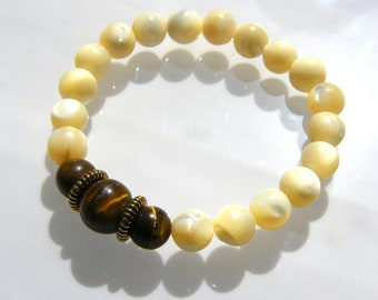 Natural Beige Agate Gemstone with Tiger Eye Focal Beads Stretch Bracelet