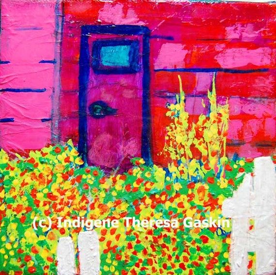 """Old Shed Flowers - """"Gone Wild Series"""" - 6"""" x 6"""" Original Miniature Landscape Paintings"""