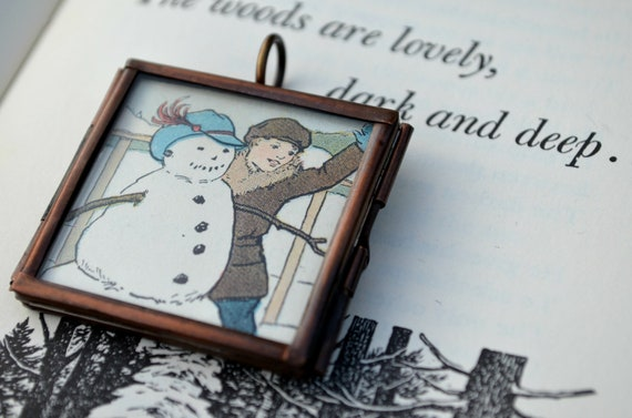 Pendant Decoration Winter Christmas Snowman Music Vintage Illustration