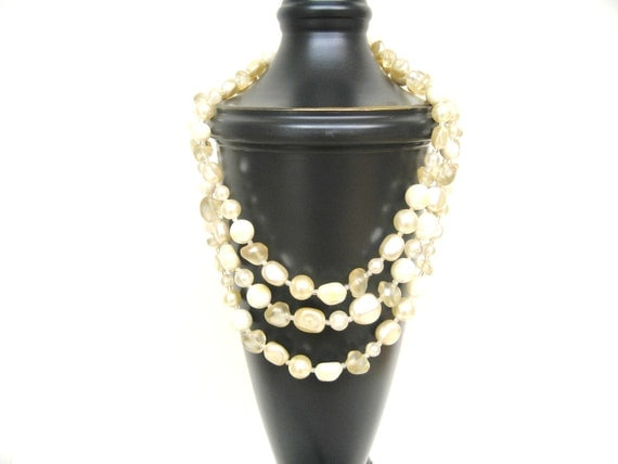 Triple Strand Faux Freshwater Pearl Necklace