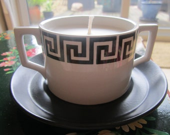 Handmade vintage soy candle in a Portmeirion, twin-handled soup bowl, Coconut scented